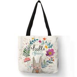 Único Animal Imprime Torebki Damskie Totes Para As Mulheres Bonitos Coelho Com Floral Loop Handbag Eco Linho Sacos Práticos Portáteis em Promoção