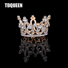 $enCountryForm.capitalKeyWord NZ - rowns and tiaras TDQUEEN Tiaras And Crowns Golden Silver Plated Full Round Rhinestone Crystal Baby Girls Christmans Gift Present Hair Acc...