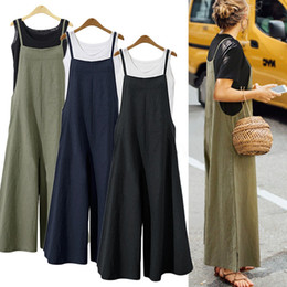 Women S Cotton Jumpsuits Australia - S-5XL 2018 Summer Women Strappy Solid Comfy Wide Leg Jumpsuits Women's Casual Loose Dungarees Bib Overalls Cotton Linen Rompers