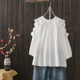 top japanese girl NZ - KYQIAO women boho shirt 2019 mori girls autumn spring Japanese style bohemian sweet o neck white embroidery blouse tops