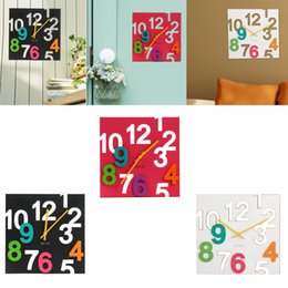 Wholesale Acrylic Colorful Wall Clock D Hollow Numbers Mute Clock Home Decor
