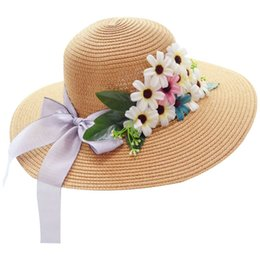 17c1e700e91 Women Summer Straw Weave Sun Visor Beach Hat Ribbon Bowknot Multi  Artificial Flowers Bucket Cap Large Wide Brim Foldable 6 Color