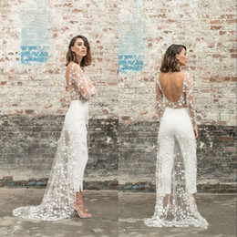 Wholesale gold dress pants for sale - Group buy Vintage White Pant Evening Dresses with Overskirt Arabic Dubai Long Sleeve Open Back Ankle Length Jumpsuit Outfit Evening Gowns