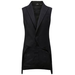 Tail coaT suiTs online shopping - New Fashion Cool Black Tuxedos Men Middle Long Tailcoat Male Suit swallow tailed Vest Coat