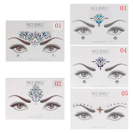 temporary eye shadow tattoos UK - 1 Sheet 3D Crystal Stickers Body Art Temporary Eyes Tattoo Transfer Eye shadow Eyeliner Face Fashion Beauty Dacoration Tools