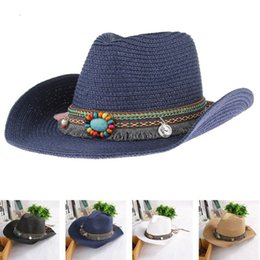 Straw Derby Stingy Australia - Summer Ethnic Hand Knitted Straw Hat Women Men Western Bohemia Cowboy Hat Jazz Church Sun Hats