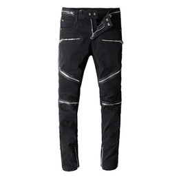 China Balmain mens jeans Motorcycle biker Pattern jeans rock widening fattening ripped Cool Pattern Mottled true pants designer women jeans supplier mens ripped green jeans suppliers