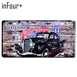 car paint numbers UK - New London Car License Plate Metal Plate Car Number Tin Signs Bar Pub Cafe Home Decor Metal Sign Garage Painting Plaques Signs
