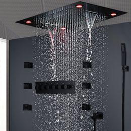 Contemporary Rainfall Shower Head Colorful Led Bathroom Shower Set Remote Control Led Light Rain Showers 30cm Embedded Ceiling Bathroom Fixtures