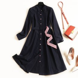 blue sashes belts Australia - 2019 Summer Fall Blue Long Sleeve Lapel Neck Elegant Striped Print Belted Buttons Single-Breasted Dress Casual Fashion Dresses OLJL27C12452