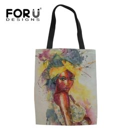Canvas Art Prints Women Australia - FORUDESIGNS Fashion Woman Art Printing Women Tote Bags Casual Folding Messenger Bags for Lady Canvas Shoulder for Students