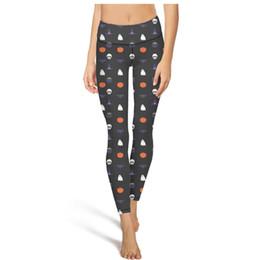 Womens patterned leggings online shopping - Halloween ghost pattern yoga pants High waist yoga pants Womens Gym yoga pants sweat wicking fashion tights capri Leggings Black