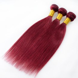 "Remy Human Straight Hair Bundles Canada - Cheap 7A Red Wine Mongolian Virgin Hair Straight Weave Bundles 99j Human Hair 3Pcs lot Brazilian Virgin Remy Hair Burgundy Weave 8""-30"""