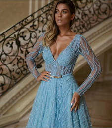 $enCountryForm.capitalKeyWord Australia - Evening dress Yousef aljasmi Labourjoisie Zuhair murad A-Line V-Neck Sky Blue Tulle Sash Feather Crystal 9 Long Dress James_paul9