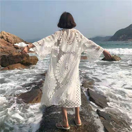 $enCountryForm.capitalKeyWord Australia - New style for ladies White Lace Embroidery sunflower Design Summer Bikini Cover up Shawl mesh blouse