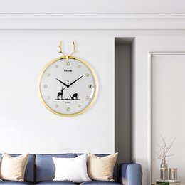 $enCountryForm.capitalKeyWord Australia - 3D Animal Deer Head Antlers Northern European Style Round Wall Clock Modern Design Fashion Gold Color Crystal Living Room Clocks