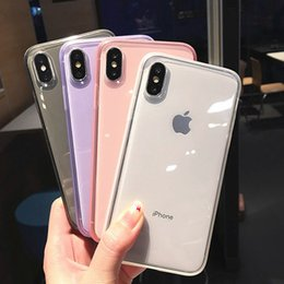 Iphone Back Hot Pink Australia - Anti-shock Non-slip Plain Cases For iPhone XS Max XR XS X 6 6s 7 8 Plus Hot Clear Transparent Soft TPU Phone Back Cover