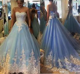 IndIan sImple weddIng dresses online shopping - Robe De Mariage Blue Ball Gown Wedding Dresses With White Lace Appliques Vintage Corset Back Indian Dubai Bridal Gowns Plus Size