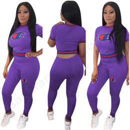 $enCountryForm.capitalKeyWord Australia - Spring Summer Women Tracksuit Champions Screw Strip Outfit Short Sleeve T Shirt Crop top + Tight Pants 2 piece set Sportswear Suit Hot C3273