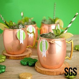 Wholesale Moscow Mule Mug Copper Mug oz Stainless Steel Beer Cup Rose Gold Hammered Copper Plated Cup Cocktail Drinkware Coffee Cups DBC VT1669