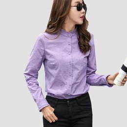 20f627a2abf9ae Korean women office shirts online shopping - Women Ruffle Blouse Top Cotton  Long Sleeve Embroidery Blouse