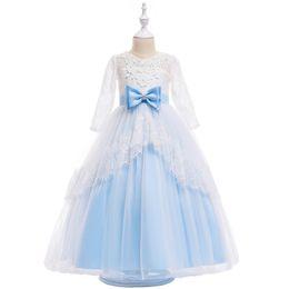 Open Skirt Ball Dress UK - Open Back Long Lace Girl Dresses Princess Dresses Cotton Blends Skirt With Big Bow On the Waist