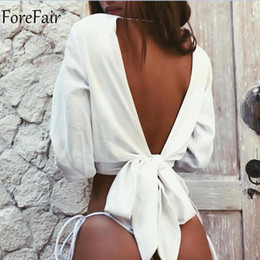 $enCountryForm.capitalKeyWord Australia - Forefair Backless V Neck White Sexy Blouse Women Summer Wrap Shirt Long Sleeve Chiffon Womens Tops and Blouses