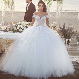sweetheart ball gown princess wedding dresses NZ - Sweetheart Open Back 2019 Romantic Princess Off Shoulder White Ivory Lace Ball Gown Short Sleeve Wedding Bridal Dresses Custom Made Corset