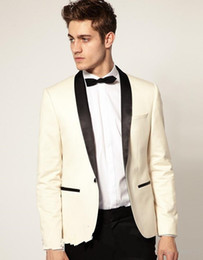 satin beige tuxedo wedding NZ - New Fashionable One Button Ivory Groom Tuxedos Shawl Lapel Groomsmen Best Man Wedding Prom Dinner Suits (Jacket+Pants+Tie) 1512