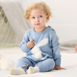 $enCountryForm.capitalKeyWord Australia - Rabbit Knitted Bunny Rompers for Newborns Jumpsuits Infant Bebes Boy Girl Long Sleeve Overalls Toddler Children's Easter Outfits