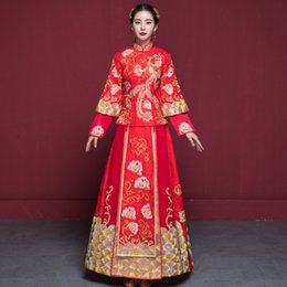 e7186ef0e Bride Wedding Dress Traditional Chinese Style Costume Phoenix Cheongsam  Embroidery Clothing Luxury Ancient Royal Red Qipao Gown