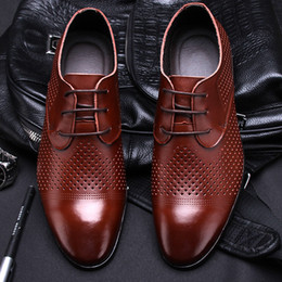 elegant plain wedding dress Australia - Men Dress Shoes Leather Brown Formal Man Wedding Shoe Elegant Luxury Suit Shoes Big Size Fashion Party Shoes Pointed Toe Flats