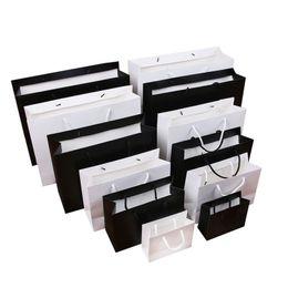 $enCountryForm.capitalKeyWord Australia - High quality Black White kraft paper bag with handle Wedding Party Favor Paper Gift Bags LX1391