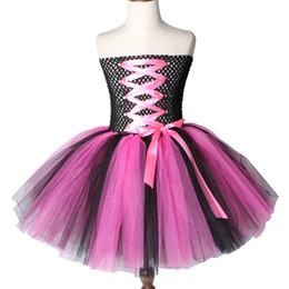 $enCountryForm.capitalKeyWord Australia - Hot Pink And Black Rock Star Tutu Dress Knee-length Girls Birthday Party Dress Tulle Kids Girls Halloween Dress Costumes 2-12y Y19061801