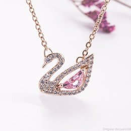 necklaces pendants Australia - Crystal Cubic Zircon Swan Pendant Necklace Brand Choker INS Animal Charm Necklace for Women Girls Wedding Party Statement Jewelry Gift