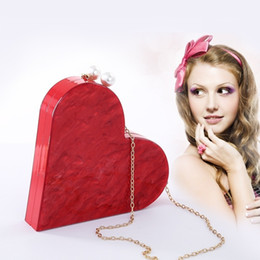 unique handbags Australia - Unique Designer Acrylic Clutch Fashion Cute Red Heart Shape Pearl Chain Party Evening Bag Women Shoulder Bags Hot Handbag PursesMX190820