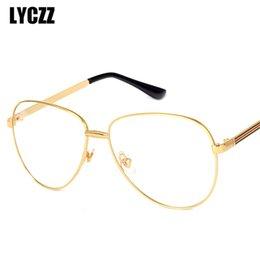 6fb2f4f6200 LYCZZ Classic Big Women Pilot Metal Glasses Frame Retro Men Original Clear  Lens myopia Glasses vintage opticos Reading Eyewear