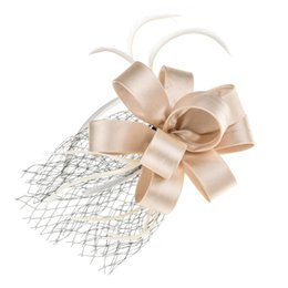 vintage hats netting NZ - Vintage Feather Net Mesh Headband Silk Flower Veil Hair Band Top Hat for Women Ladies Wedding Party Hair Accessories