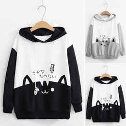 Venta al por mayor de Moda para mujer Casual Otoño Invierno Sudadera de manga larga Kitty Cat Print Pocket Thin Hoodie Blusa Pullover Loose Top Shirt