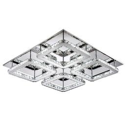 Square Kitchen Designs Australia - Free Shipping Large Square Design Modern Led Crystal Ceiling Light 4-lights Lustres Home Decoration Luminaria Teto