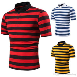 Wholesale red polo shirt for men resale online – Polo Shirt Men Summer T shirt for Men Striped Shirt Men s Designer T shirt Red Yellow Blue Designer Polo Top Tee Male S XL J190704