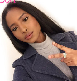 Discount beautiful lace wigs for brazilian hair - Beautiful unprocessed remy raw virgin human hair long natural color silky straight full front lace wig for beautiful lad