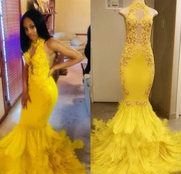 172184f775 White Satin Robe Feathers Australia - 2019 Yellow African Mermaid Prom  Dresses Long Lace High Collar