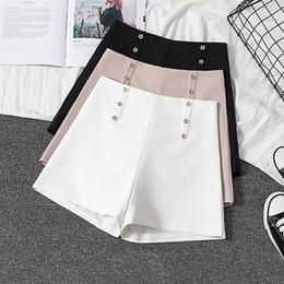 $enCountryForm.capitalKeyWord Australia - Gumprun Summer Women Clothing Korean Style Slim Was Thin High Waist Wide Leg Shorts Simple Black White Casual Office Shorts MX190714