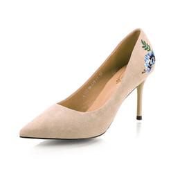 Beige High Heels Flowers Australia - New Women Fashion 8.5cm High Heels Female Sexy stiletto Heels Flower Suede Wedding Pumps Lady Embroider Shoes Chaussure Escarpins Doree