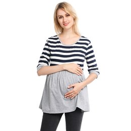 half shoulders shirt NZ - Maternity Clothes Women Breastfeeding Stroped Blouse Fashion Half Sleeve Pregnant T-Shirt Daily Maternity Clothes