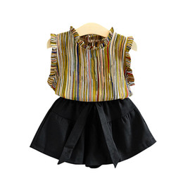 Flowers patchwork online shopping - Kids Outfits INS Baby Girls Clothing Sets Children Summer Cotton Chiffon T shirt Skirts Short Pants Striped Suits GGA2346
