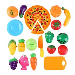 play toys kitchen set gift NZ - 24pcs Cutting Fruit Vegetable Toy Set Kitchen Pretend Play Kids Puzzle Toys Children's Kitchen Kawaii Educational Toys Gift