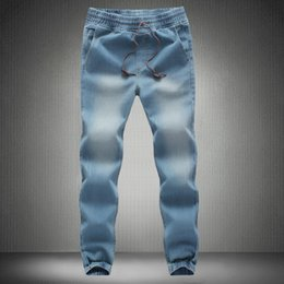 Men Jeans Pants 2017 New  Man Elastic Denim Joggers Male Slim Fit Jeans Trousers Mens Pencil Pants Man Denim on Sale