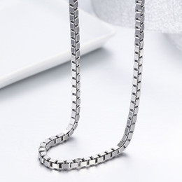 Sterling Silver Snake chain long online shopping - 50 cm Real Sterling Silver Box Chain Long Necklaces Women Men Jewelry Width mm Kolye Collares Ketting Hiphop